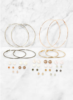 Set of  16 Assorted Metallic Hoop and Stud Earrings - 3135072693374