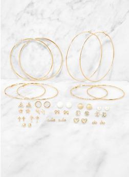 Set of 20 Metallic Stud and Hoop Earrings - 3135072693375