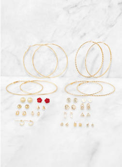 Set of 20 Assorted Metallic Hoop and Stud Earrings - 3135072693382
