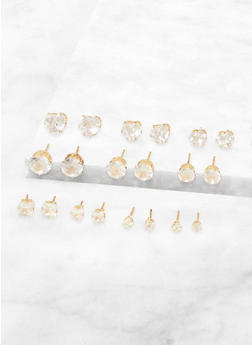 Cubic Zirconia Stud Earrings Set - 3135072693436