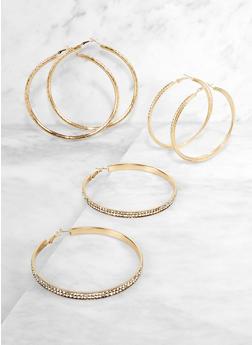 Rhinestone Textured Hoop Earrings Set - 3135072693538