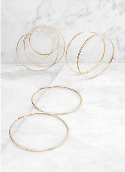 Jumbo Metallic Hoop Earring Trio - 3135072693544