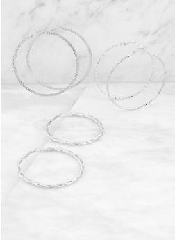 Textured Metallic Hoop Earring Trio | 3135072693764 - 3135072693764