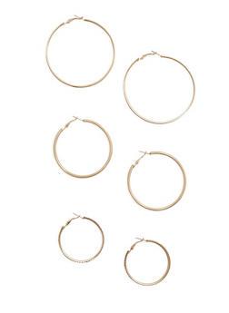 Glitter Rhinestone Metallic Hoop Earring Trio - 3135072693875