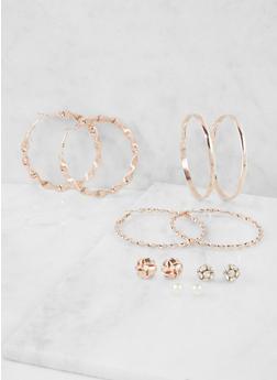 Set of 6 Assorted Hoop and Stud Earrings - 3135072694477
