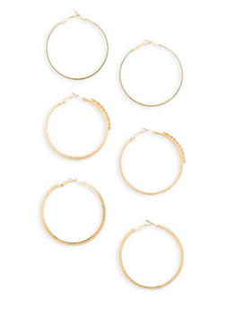 Rhinestone Glitter Hoop Earrings Trio - 3135072694614