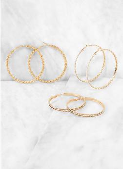 Chain Hoop Earring Trio - 3135072695707