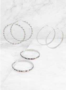 Textured Hoop Earring Trio - 3135072695715
