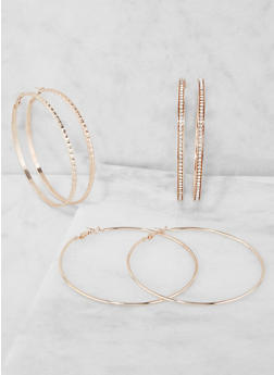 Set of 3 Oversized Hoop Earrings - 3135072696097