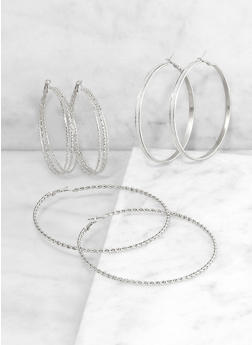 Thick Textured Hoop Earring Trio - 3135072696421