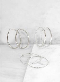 Assorted Glitter Hoop Earring Trio - 3135072696429