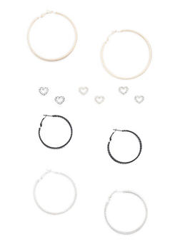 Set of 6 Tri Tone Stud and Hoop Earrings - 3135072696595