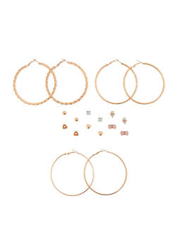 Set of 9 Assorted Hoop and Stud Earrings - 3135072696622