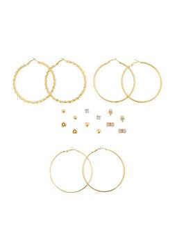 Set of 9 Assorted Hoop and Stud Earrings - 3135072696622