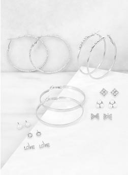 Faux Pearl Stud and Metallic Hoop Earrings Set - 3135072696629