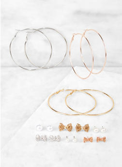 Assorted Bow Stud and Metallic Hoop Earrings Set - 3135072696657