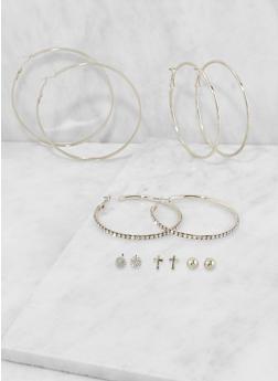 Assorted Hoop and Stud Earrings Set - 3135072696694
