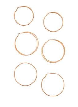 Metallic Textured Hoop Earrings Trio - 3135072696891