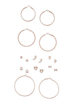 Metallic Stud and Hoop Earrings Set of 9 - 3135072697370