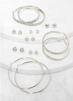 Rhinestone Hoop and Heart Stud Earrings Set - 3135072697398