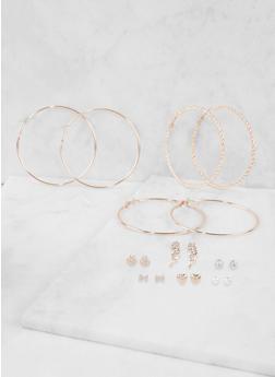 Assorted Hoop and Rhinestone Wing Stud Earrings Set - 3135072697461