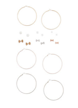 Tri Tone Hoop and Stud Earrings Set of 9 - 3135072697656