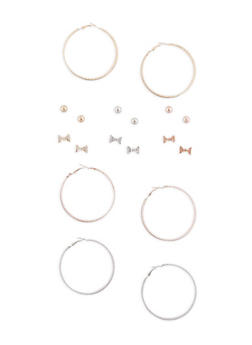 Tri Tone Stud and Glitter Hoop Earrings Set - 3135072697661