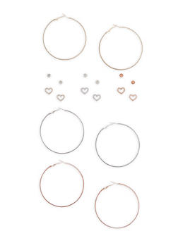 Tri Tone Glitter Hoops and Rhinestone Stud Earrings - 3135072697662