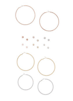 Large Braided Tri Tone Hoops and Stud Earrings Set - 3135072697663