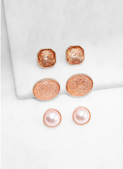 Trio Of Oversized Stud Earrings - 3135072698266