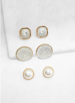 Trio Of Oversized Stud Earrings - 3135072698266