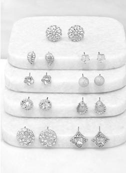9 Assorted Metallic Stud Earrings - 3135072698326