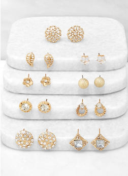 9 Assorted Metallic Stud Earrings - 3135072698326