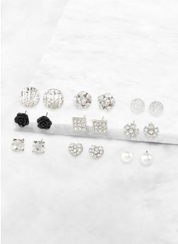 Assorted Rhinestone Earrings Set - 3135072698332