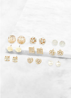 Assorted Rhinestone Earrings Set - 3135072698332