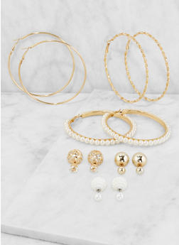 Faux Pearl Hoop and Reversible Stud Earrings - 3135072698873