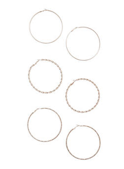 Assorted Large Metallic Hoop Earring Trio - 3135072699085