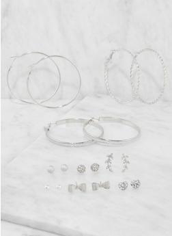 Assorted Hoop and Stud Earrings Set - 3135072699567