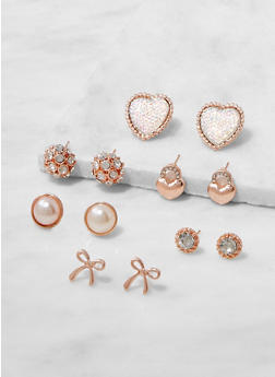 Set of 6 Assorted Stud Earrings - 3135072699596