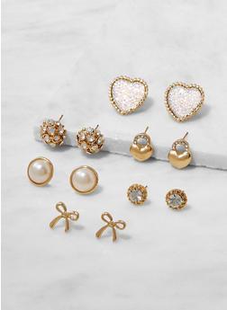 Set of 6 Assorted Stud Earrings - 3135072699596
