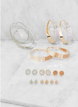 Assorted Stud and Wide Hoop Earrings Set - 3135072699718