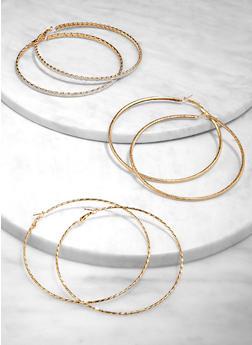 Oversized Textured Hoop Earring Trio - 3135073840660
