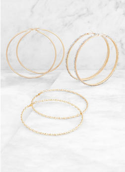 Large Textured Metallic Hoop Earring Trio - 3135073840661