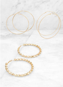 Twisted Coil Hoop Earring Trio - 3135073840662
