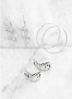 Glitter Twist Drop and Hoop Earrings Set - 3135073840734