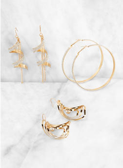 Glitter Twist Drop and Hoop Earrings Set - 3135073840734