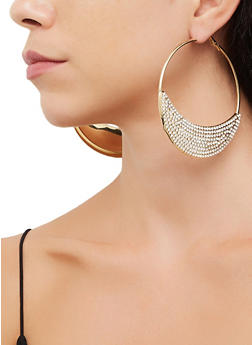 Rhinestone Crescent Hoop Earrings | 3135073841019 - 3135073841019