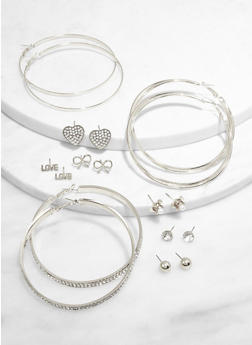 Love Metallic Stud and Hoop Earrings Set - 3135073841022