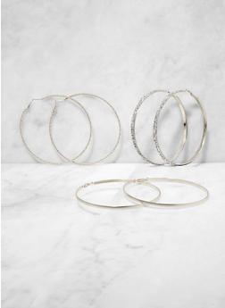 Metallic Oversized Hoop Earring Trio | 3135073841366 - 3135073841366