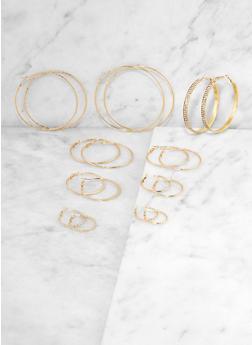 Multi Size Textured Metallic Hoop Earrings Set - 3135073841369